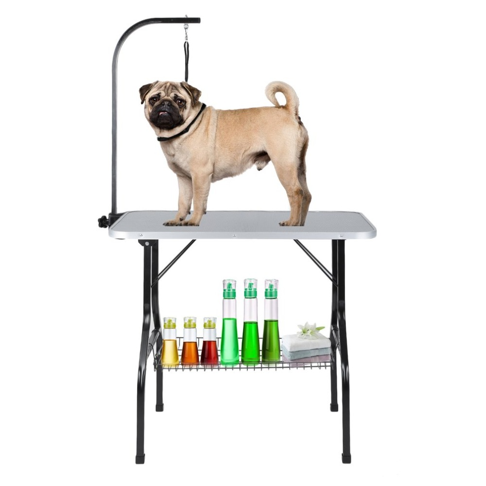 Large Foldable Pet Dog Grooming Table Arm Noose Shelf Heavy Duty Dog Cat Bathing Height Adjustable