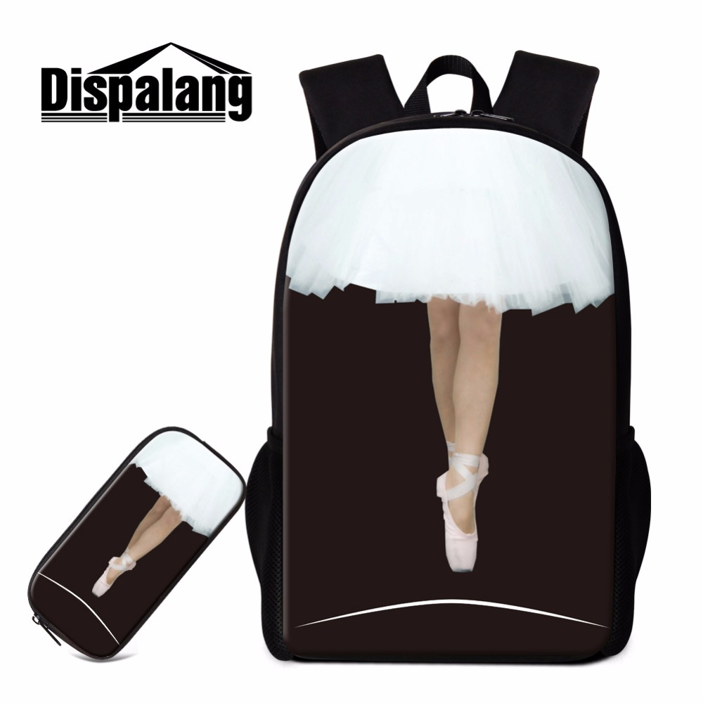 Dispalang Pretty School Backpack for Teen Girls Ballet Dancing Girls Printing Bookbag Children Fashion Back Pack with Pen Case