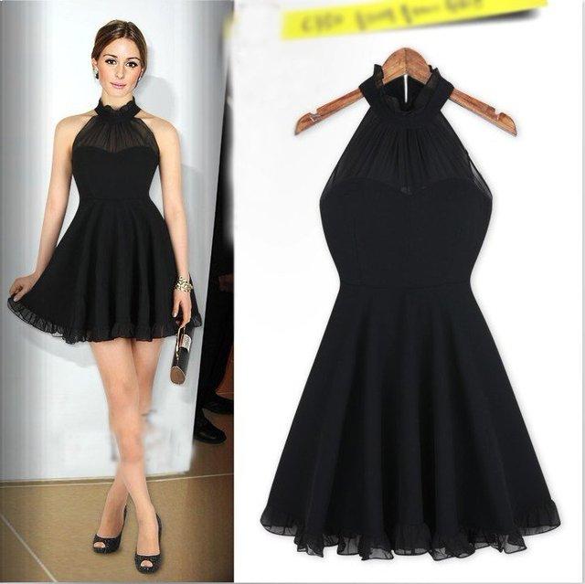 Europe Womens Fashion Elegant Halter Black Casual Dress E2905 In