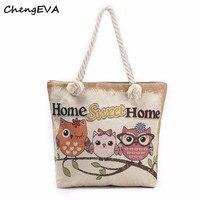 2017 Casual Hot Sale Attractive Elegant Owl Printed Tote Bags Women Shoulder Bag Handbags Shopping Bag