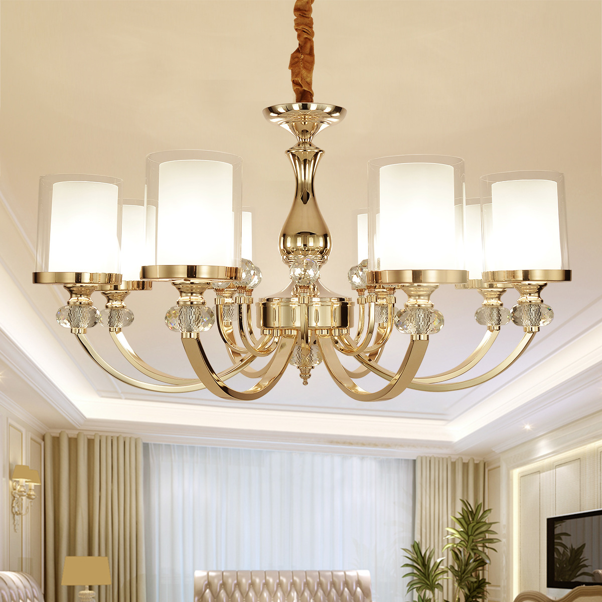 (EICEO) Living Room Lamp Crystal Chandelier European Modern Minimalist Bedroom Lighting Restaurant Atmosphere LED Pendant Lamps simfer b6em13001