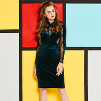 Sisjuly Black Lace Mesh See through Bowknot Stand Collar Long Sleeve Pencil Bodycon Green Dress Spring Winter Sexy Work Dresses