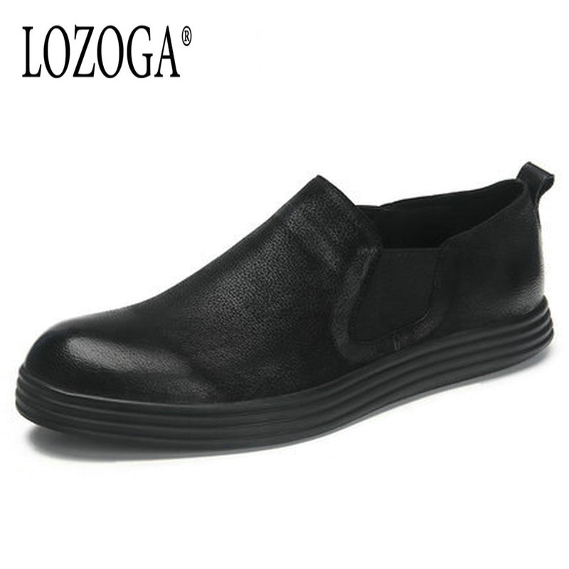 Lozoga Men's Shoes Genuine Leather Casual Shoes Slip On black Retro Original Design Flat Shoes Spring and Autumn Luxury Handmade spring and autumn flat shoes comfortable and easy to wear slip on closure type fur decoration win warm praise from customer