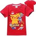 Camisa Crianças Encabeça Meninos Camiseta Pikachu Pokemon verão Meninas roupas Pokemon Ir T-shirt de Manga Curta Roupas Meninos Dos Desenhos Animados T 2016