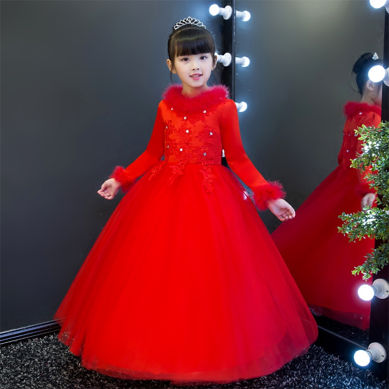 2017 New Winter Warm Luxury Children Girls Red White Color Princess Lace Long Dress Kids Birthday Wedding Ball Gown Mesh Dress girls europe and the united states children s wear red princess long sleeve princess dress child kids clothing red bow lace