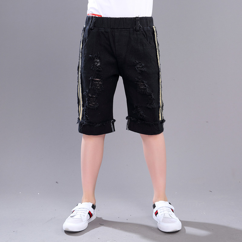 Side Seam Vertical Striped Elastic Waist Straight Black Jeans Shorts For Boy Shorts New 2017 Summer