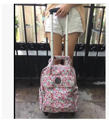 Women Travel Trolley Bags Woman travel luggage trolley Backpacks bags with wheels Oxford Rolling Wheeled Luggage Backpack bags