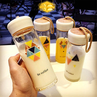 Minimalist Unique Sweet Korean Geometry Style Transparent Glass Water Bottle Milk Coffee Beer Cup For Gift