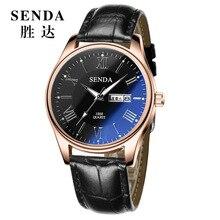 Fashion simple stylish Top Luxury brand SENDA Watches men Leather strap band Quartz-watch Clock man calendar Wristwatches 8196