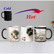 Free shipping Cute dogs Heat Reveal Coffee mug Ceramic Color changing Magic tea Cup mugs suprise gift