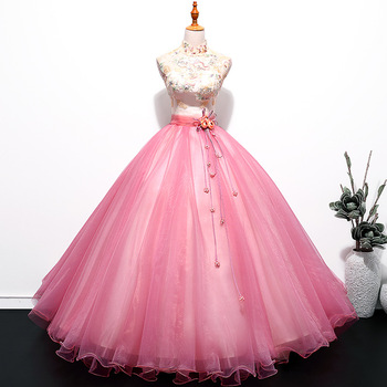 Pink Long Stage Sleeveless with Standing Collar Ball Gown Stage Dress