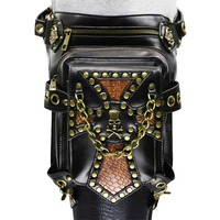 Unisex Black PU Leather Skull Rivet Punk Rock Leg Holster Waist Bag Gothic Crossbody Bags Steampunk Corsets Outfits Accessories