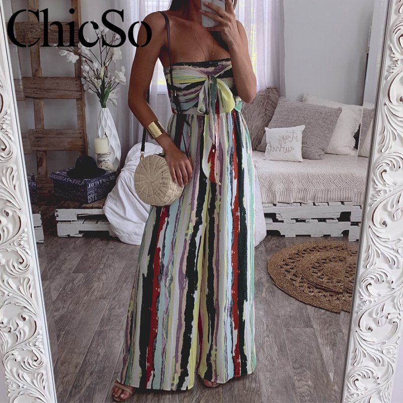 MissyChilli Stripe off shoulder sleeveless   jumpsuit   Lace up backless wide leg women   jumpsuit   Spring summer sexy party playsuit