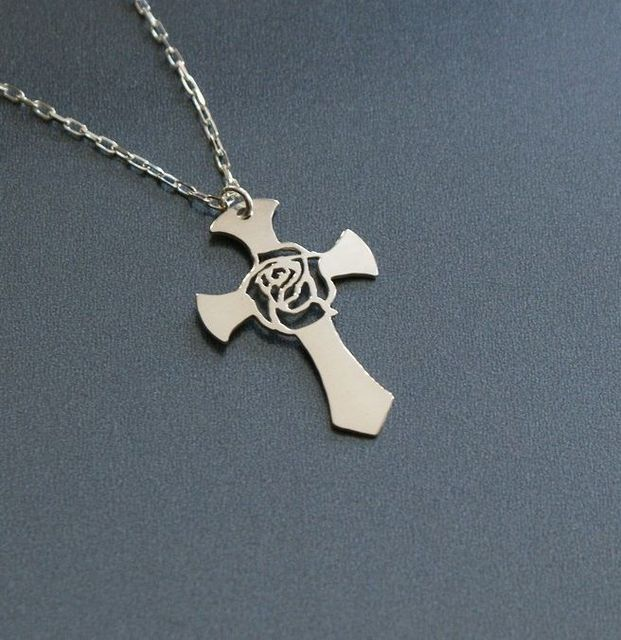 10pcs Rose Cross Necklace Women The Red Rose Has Been Known To