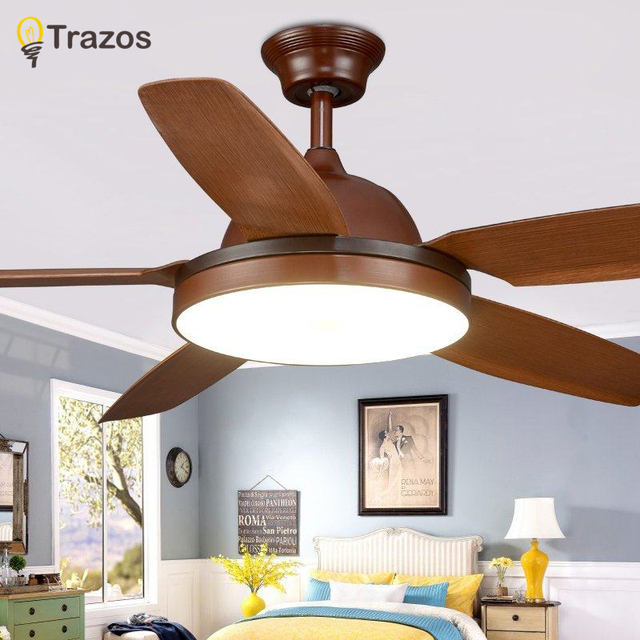 Trazos  New Ceiling Fan With Lights For Living Room Ventilateur Plafond 220V Home Ventilador De Teto Remote Cooling Fans
