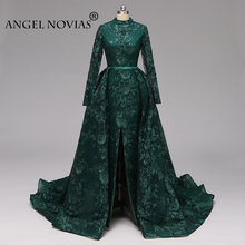 Angel Novias Long Sleeve Green Evening Dress 2019