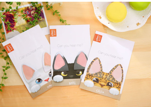 New Arrival CAT EARS Sticky Notes Self-Adhesive Memo Pad Post It Bookmark School Office Supply