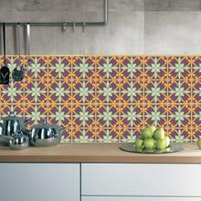 20PCS/SET Tile Sticker Anti-Slip Self-Adhesive Waterproof Wall Sticker Vintage Style Flower Wall Sticker Floor Sticker flower patchwork ceramic tile sticker 5pcs