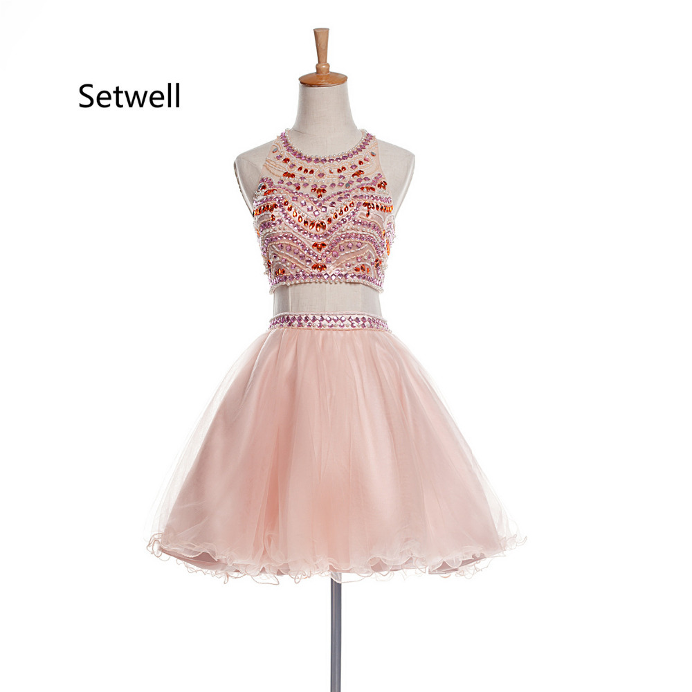 Weddings & Events Gehorsam Setwell Zwei Stücke Homecoming Kleider Leuchtenden Kristall Perlen Backless Abendkleid Mini Kurze Heimkehr Kleid