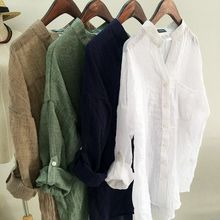 Harajuku Loose Cotton Linen Blouse Spring Summer Three Quart