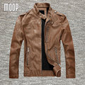 Black/Brown retro PU leather jacket men autumn fleece lining motorcycle jacket coat chaqueta moto hombre veste cuir homme LT082