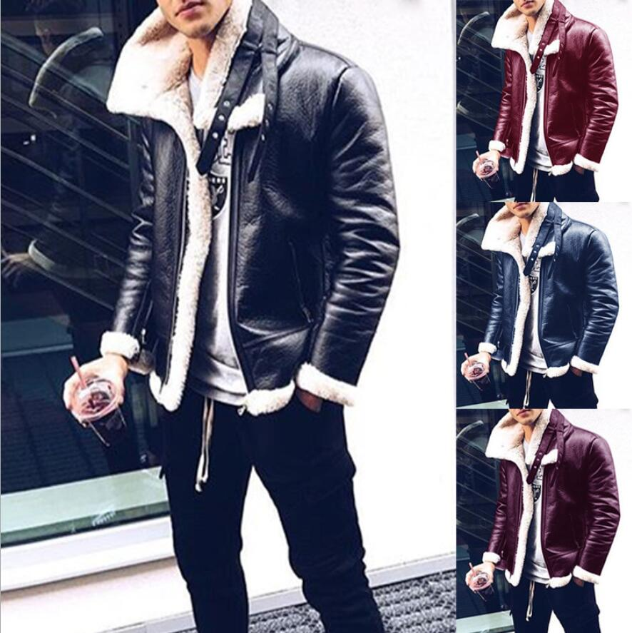 2018 New Winter Mens Leather Jacket locomotive Casual Thickening warm coat Luxury male slim Vans coat plus size stage costumes