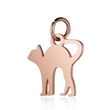 5pcs 316L Stainless Steel Double Side Polished Lovely Cat Animal Charm Pendant for Women Men Handmade Jewelry Making Findings