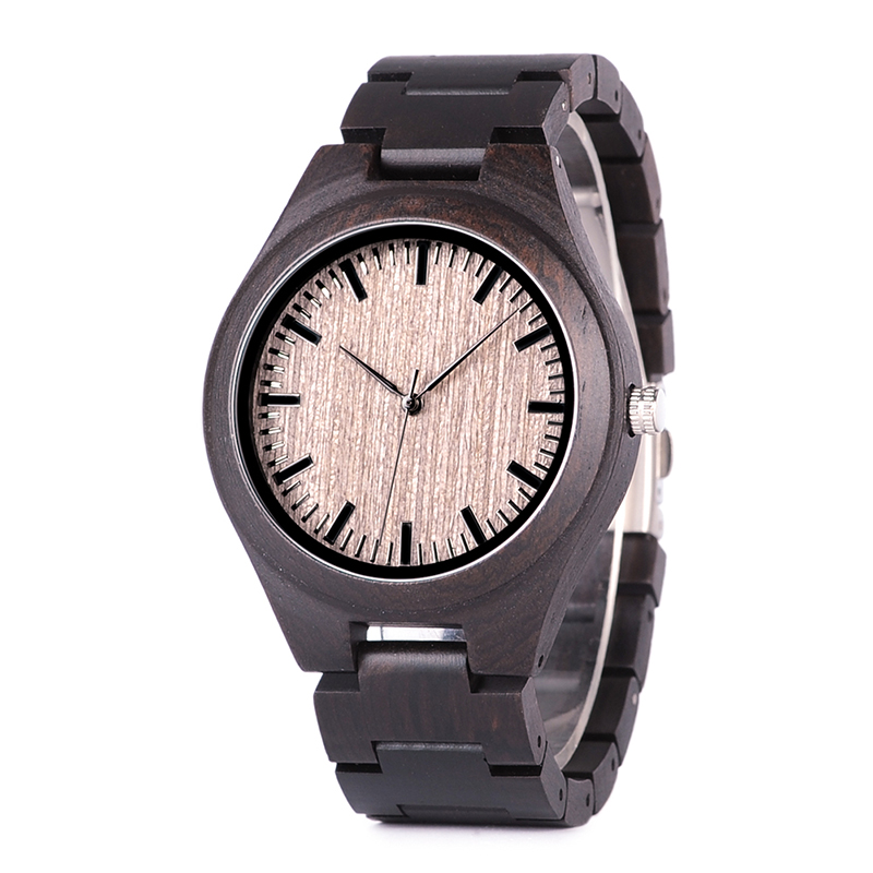 Top Brand Watch BOBO BIRD Lover Watches Quartz Movement Wooden Band Ebony Timepiece Relogio J-O08