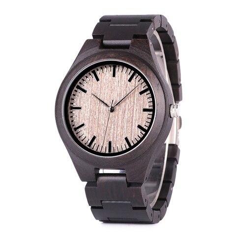 Marca de Topo Amante do Pássaro Relógio Bobo Relógios Quartzo Movimento Banda Madeira Ebony J-o08