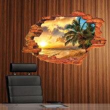 ФОТО 60*90cm beautiful landscape wall stickers coconut tree sundown home decoration bedroom living room broken hole window sticky
