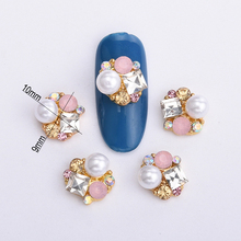 10pcs 3d pearl nail art gold alloy glitter drills DIY nails accessoires new arrive crystal rhinestoned for nail salon  BL146 stunning alloy rhinestoned bracelet for women