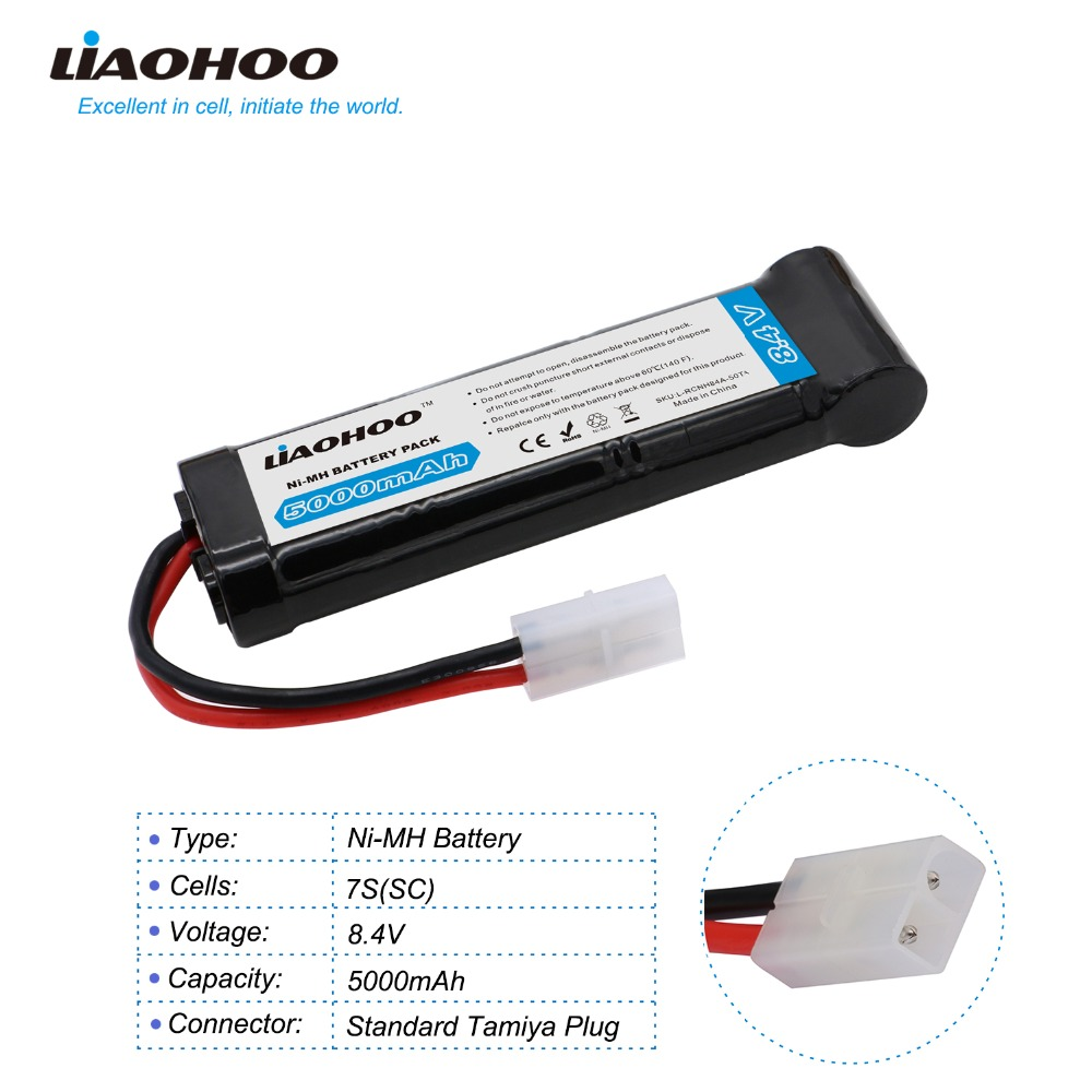 LiaoHOO 8.4V 5000mAh 7-Cell NiMH Battery with Universal Plug Deans/Traxxas/Tamiya for Remote Control RC Truck, Vehicle, Car закладка с резинкой gapchinska пушкин