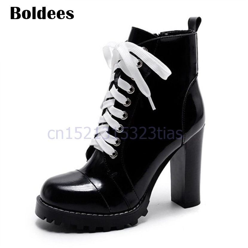 2018 New Fashion Bright Leather Platform Ankle Boots Women Vintage Short Lace Up High Heel Pumps Botines Mujer 2017 fashion new red horsehair women ankle boots square high heel short booties autumn zip up martin botines mujer women pumps