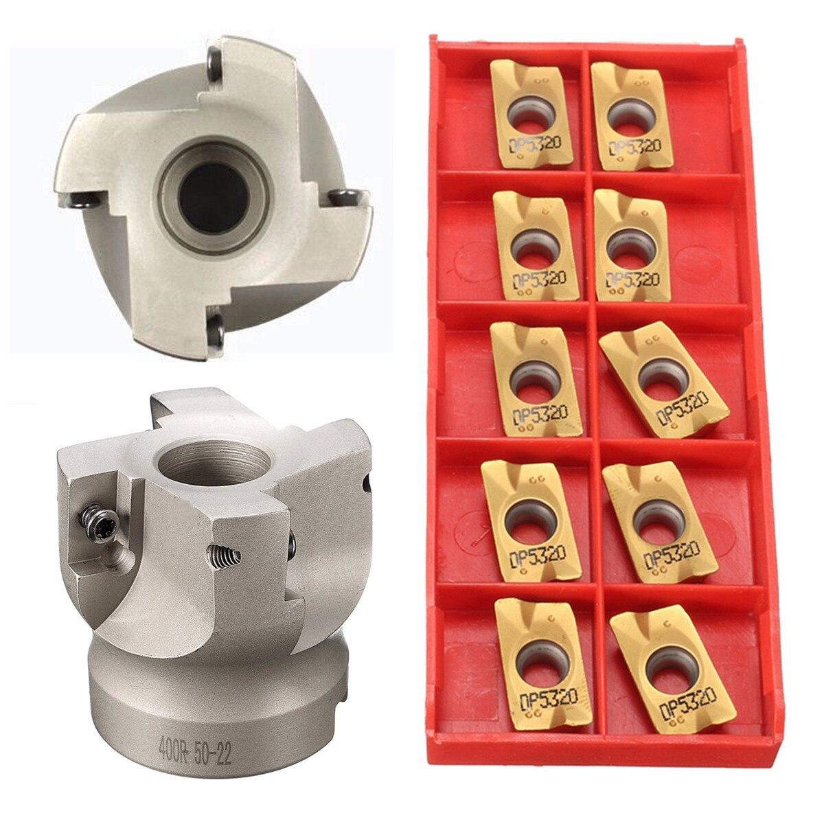 1 Set 50mm BAP400R-50-22 Visage Fraise 4 Cannelures Outils De Fraisage De Précision Avec 10 pièces APMT1604 Inserts + T15 Clé
