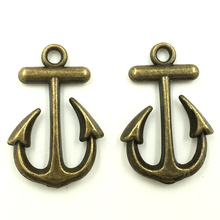 10Pcs Pendants Bronze Tone Anchor Ancre Breloque Jewelry DIY Making Findings Charm 23mm
