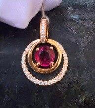 18K Rose Gold 0 973ct Red Tourmaline Necklace Pendant 0 173ct Natrual Diamond Handmade Jewelry Fashion