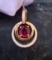 18K Rose Gold 0.973ct Red Tourmaline Necklace Pendant 0.173ct Natrual Diamond Handmade Jewelry Fashion Jewellery