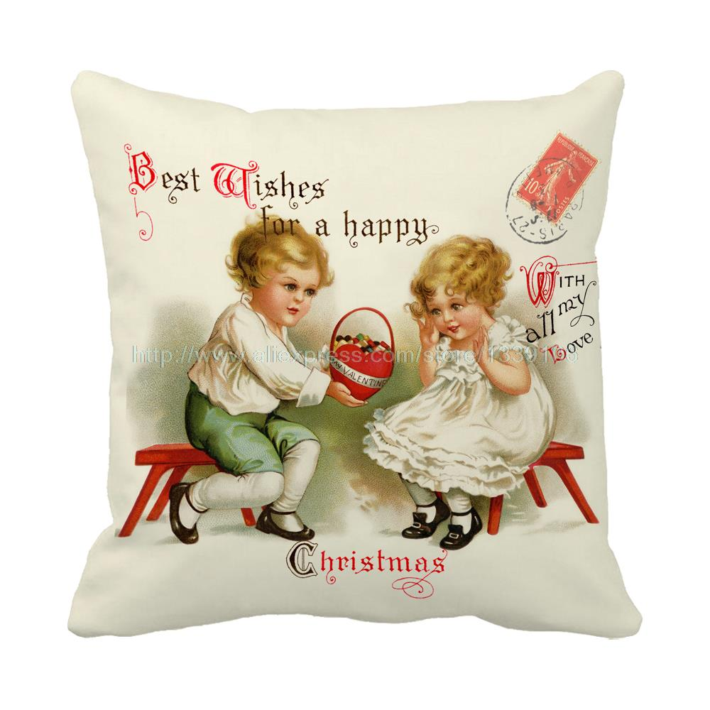 Merry christmas with all my love best wishes print luxury chair bed cushions home decor almofada sofa throw decorative pillows