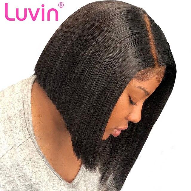 Pelucas de pelo humano Frontal de encaje de Luvin peluca Natural brasileña recta de Bob peluca Frontal de encaje pelo de bebé Pre desplumado envío gratis