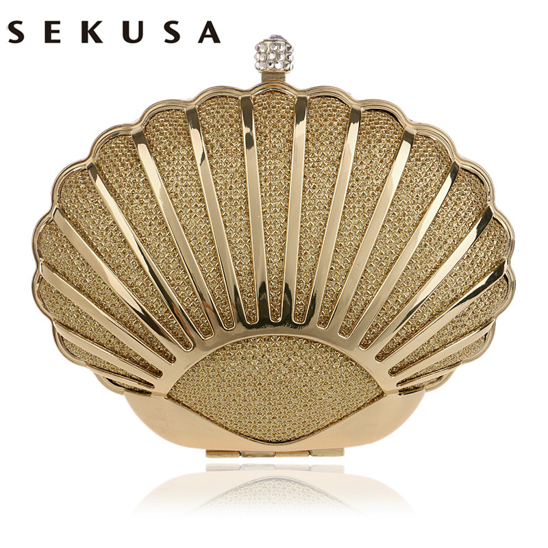SEKUSA Fashion Hollow Out Style Women Evening Bag Shell Design Diamonds Mixed Candy Color Day Clutch With Chain Shoulder Purse punk style solid color hollow out ring for women