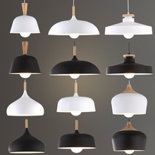цена на Nordic Pendant Lights Wood Aluminum Lampshade Industrial Lighting Loft Lamparas Dining Room Pendant Lamp E27 Light Fixtures