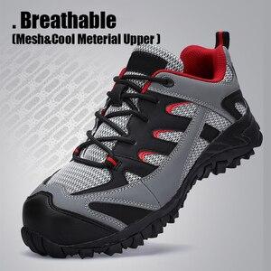 Image 5 - Scarpe di Sicurezza di Cuoio degli uomini Con Puntale In Acciaio stivali Da Lavoro Allaperto Peso Leggero Scarpe Da Lavoro