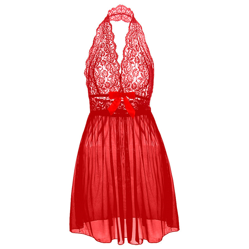 S M L XL XXL 3XL 5XL 6XL Plus Size Deep V Big Bow Women Lace Sexy Lingerie Dress Porno Costumes Nightwear image