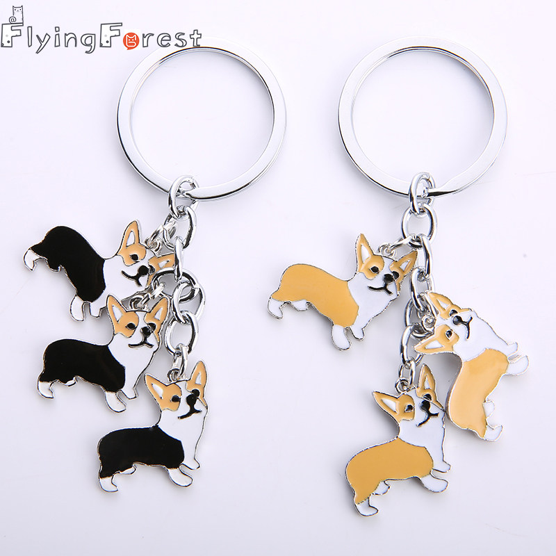 73f112939478 DIY welsh Corgi Samoyed Key Chain dogs Key Ring Jewelry Women dog feet  Pendant Bones tags Charm Lovers Dog Best friend's gift