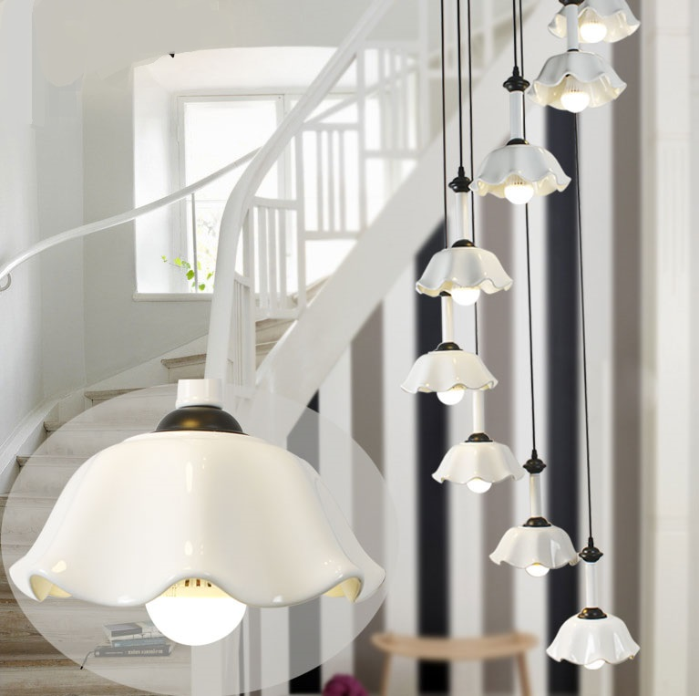 Simplify The White Ceramic Stair Lamp Pendant Lamps Rotating Modern  Minimalist Villa Long Lighting White Flowers Pendant Lights In Underwear  From Mother ...