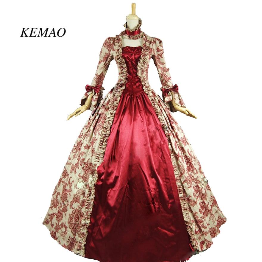 KEMAO ROTEN KLEID Viktorianischen Zeitraum Maskerade Prinzessin ...
