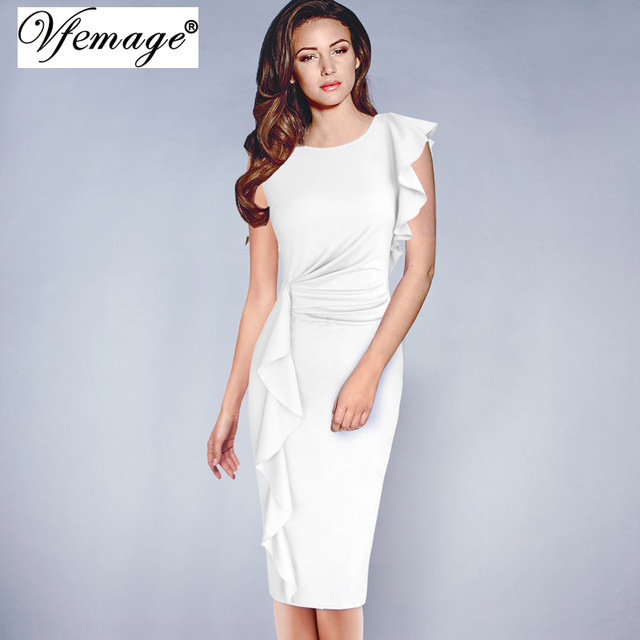 21c5b132 Vfemage Womens Elegant Ruffles Frill Ruched Draped Vintage Retro Tunic Slim Work  Business Casual Party Bodycon Pencil Dress 6665