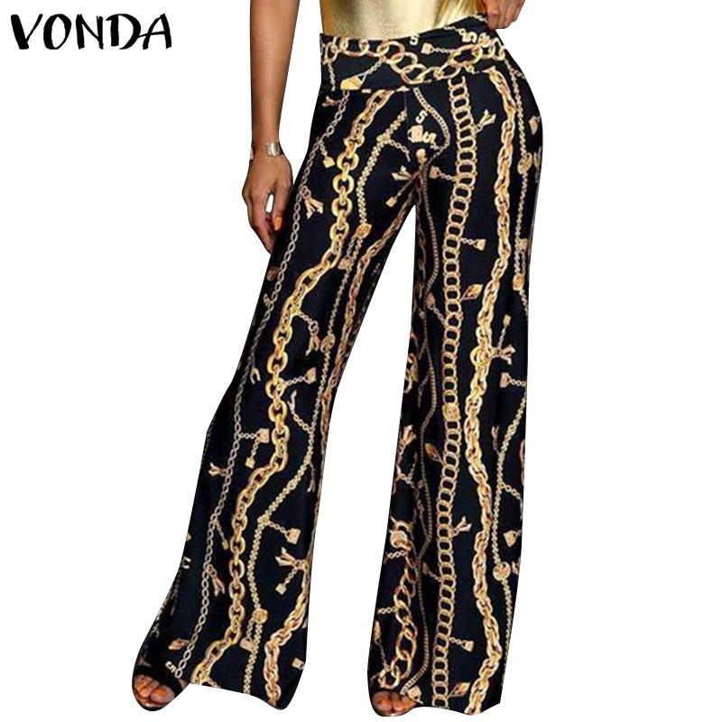 VONDA Women Pattern   Wide     Leg     Pants   2019 Summer Sexy Club Long   Pant   Streetwear Vintage Print Trousers Plus Size Bottom Plus Size