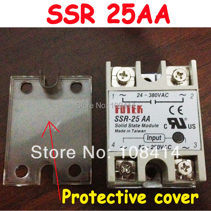 25A ssr FOTEK Solid State Module Relay with Protective Flag Cover FREE SHIPPING solid state relay ssr 120da clear cover for temperature contoller