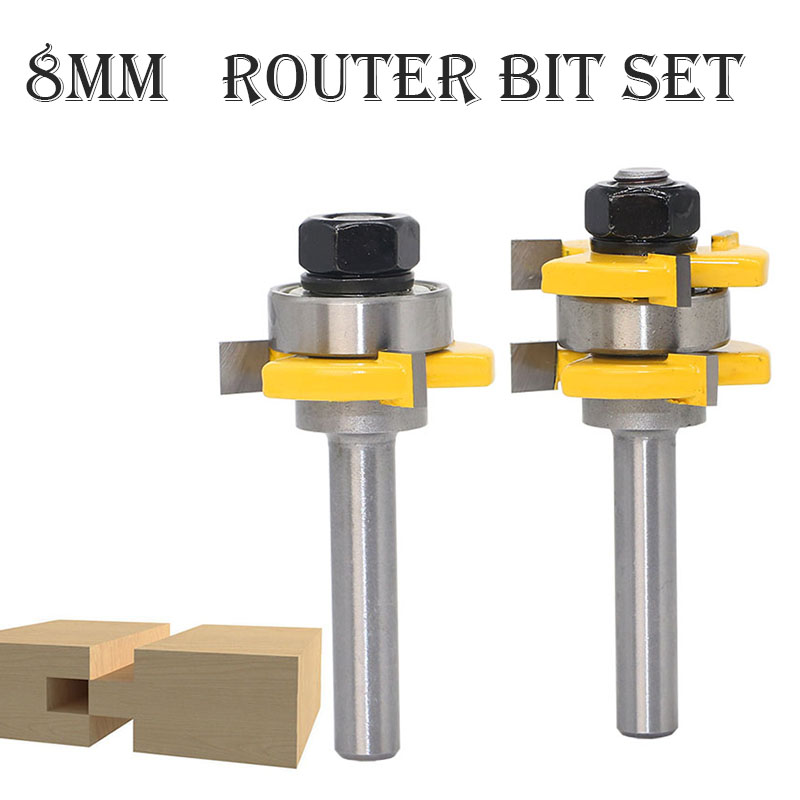 цена на Carbide Groove Joint Assembly Router Bit 2PCS/Set Wood Cutting Tool tongue 8mm Milling Cutters Trimming mill tool freze ucu80820